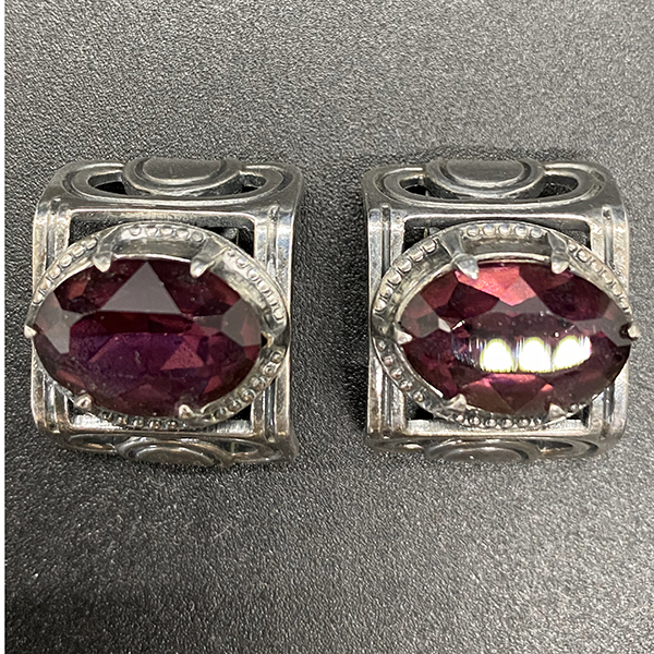 Vintage Napier Earrings in Silver tone with Large Amethyst Rhinestone