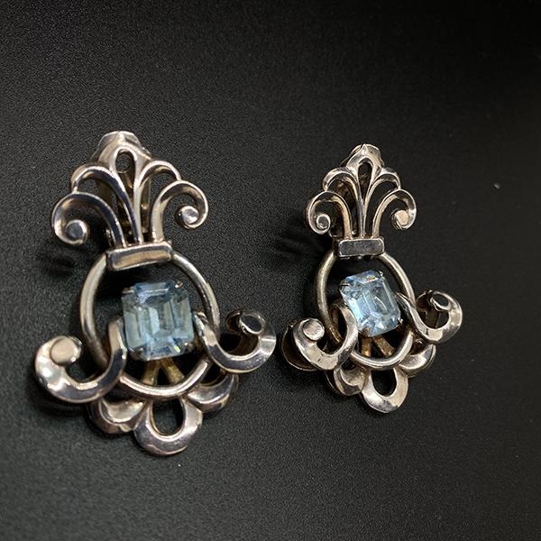 Napier 1950s blue topaz Silver Plated clip earrings