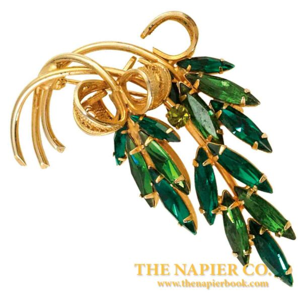 Vintage Napier Tourmaline and Jonquil-colored Rhinestone Floral Pin