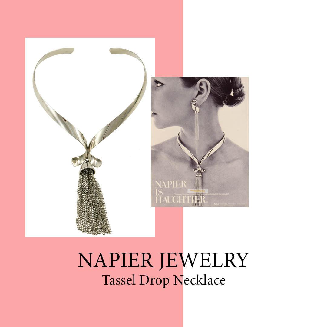 Napier 1970s tassel drop necklace