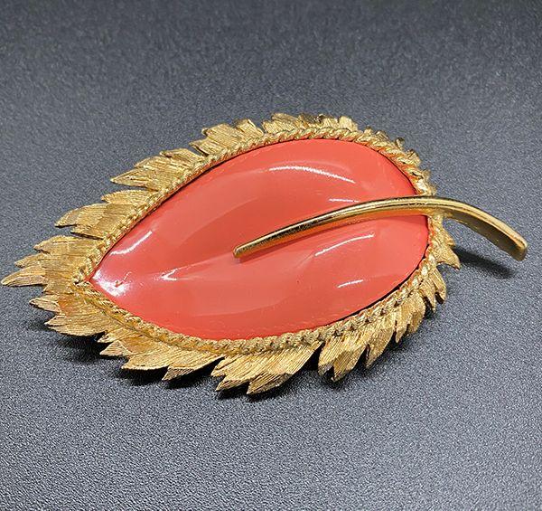 Vintage 1960s Napier Leaf Brooch