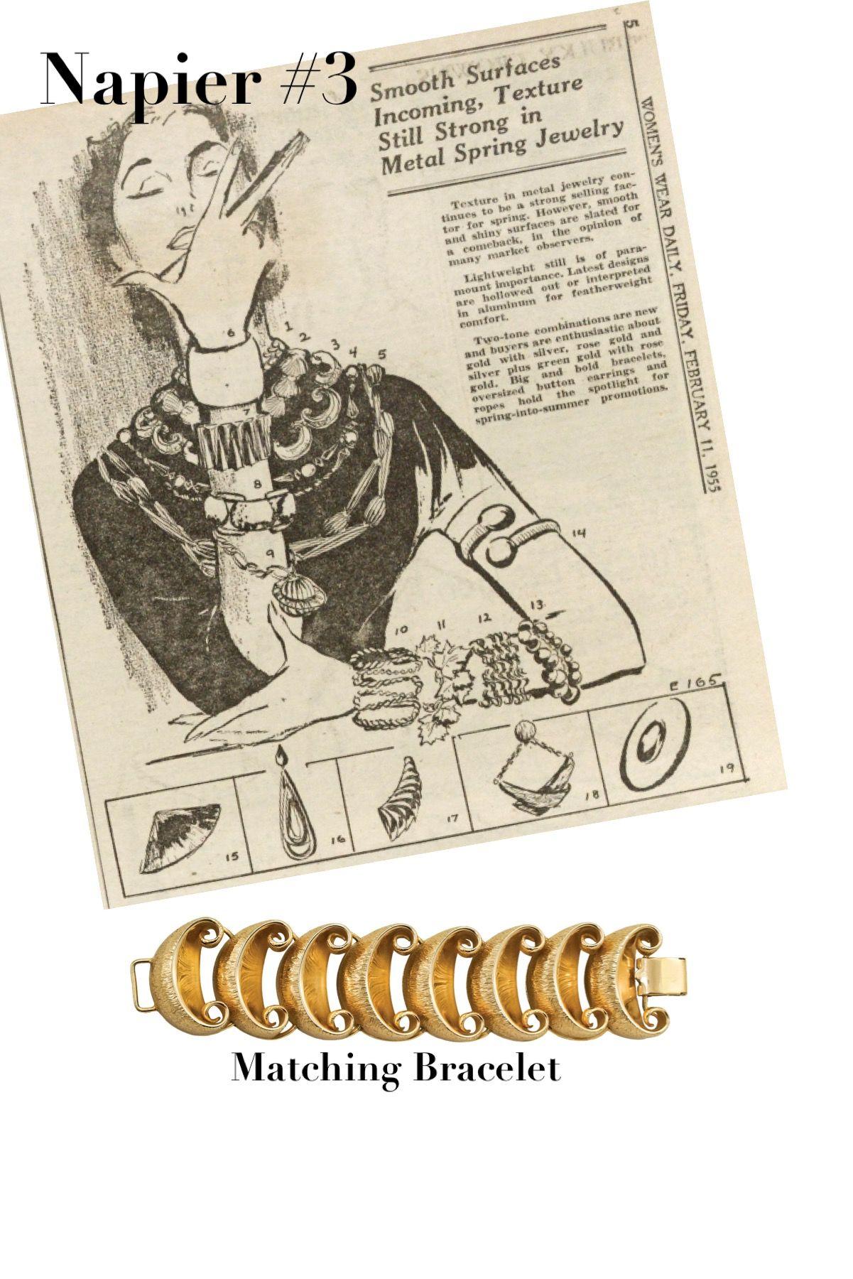Napier Jewelry Featured in WWD 1955.